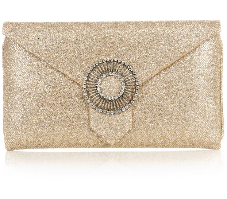Edith Gold Glitter Clutch