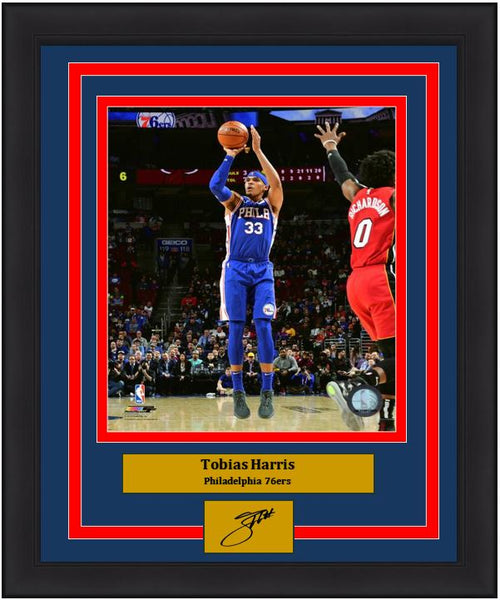 "Tobias Harris Action Taking a Shot Philadelphia 76ers NBA Basketball 8"" x 10"" Framed and Matted Photo with Engraved Autograph"