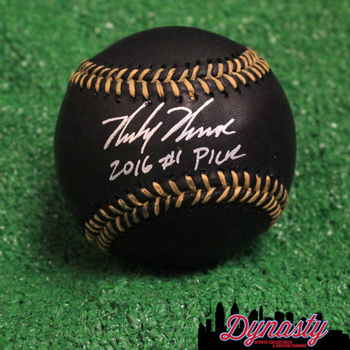 Philadelphia Phillies Mickey Moniak Autographed Major League Baseball with '2016 #1 Pick' Inscription (Black)