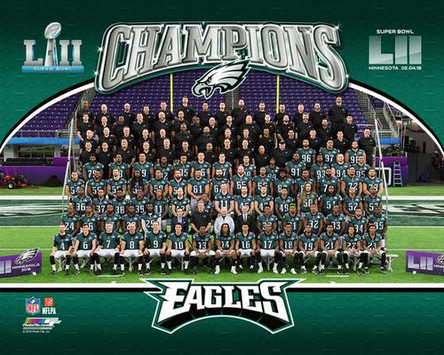 "Philadelphia Eagles Super Bowl LII Champions Team-Line-Up NFL Football 8"" x 10"" Photo"