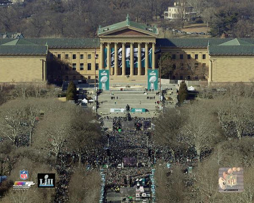 "Philadelphia Eagles Super Bowl LII Championship Parade Above the Art Museum NFL Football 8"" x 10"" Photo"