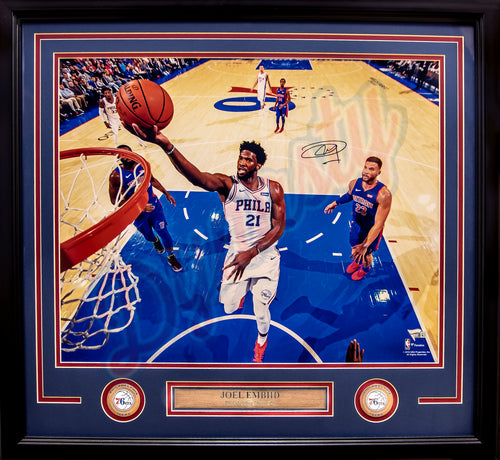 "Joel Embiid Philadelphia 76ers Autographed NBA Basketball 16"" x 20"" Framed and Matted Photo"