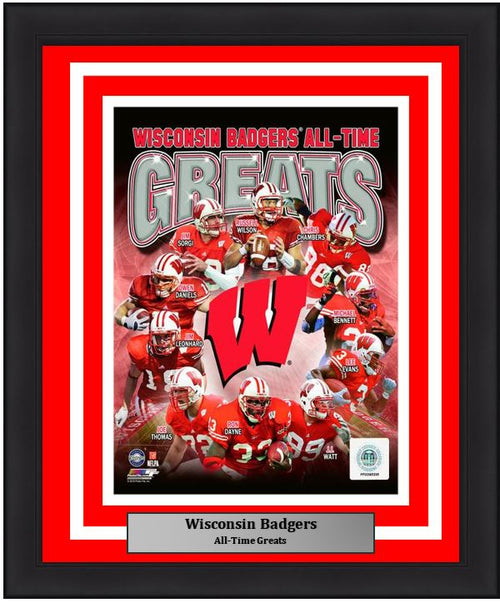 "Wisconsin Badgers All-Time Greats NCAA College Football 8"" x 10"" Framed and Matted Photo"