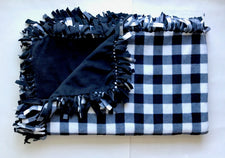 White Black Buffalo Check Plaid Large Blanket