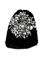 Black/Damask Gem Flower Baby Hat