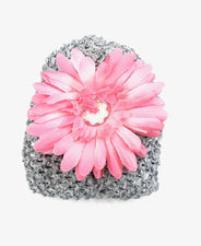 Grey/Soft Pink Gem Flower Baby Hat