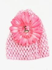 Soft Pink Flower Gem Flower Baby Hat
