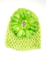 Lime Green Flower Gem Flower Baby Hat
