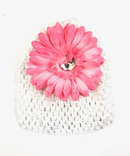 White/Soft Pink Gem Flower Baby Hat