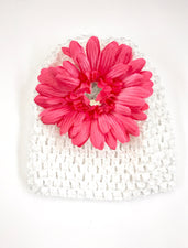 White/Hot Pink Gem Flower Baby Hat