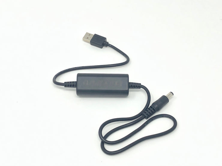5v to 12v adapter - Power any of our single color LED suits or glasses from your portable power bank