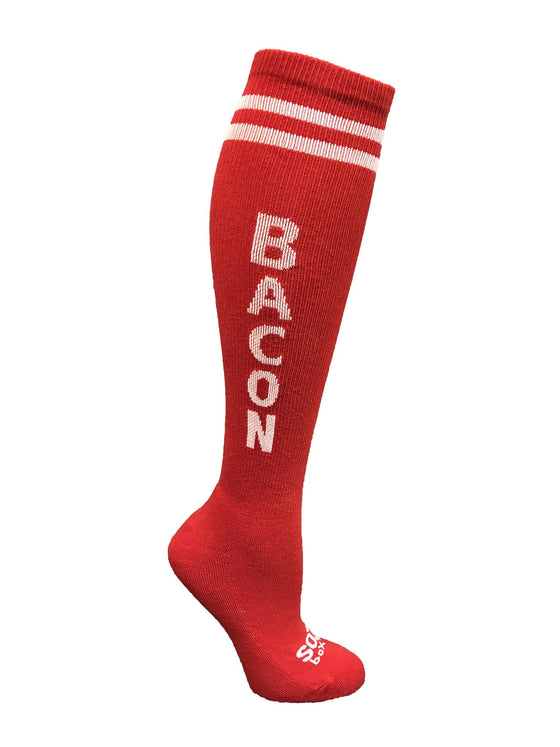 Bacon Red Knee High Athletic Socks- The Sox Box