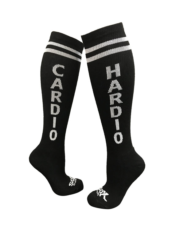 Cardio Hardio Black Athletic Knee High Socks- The Sox Box