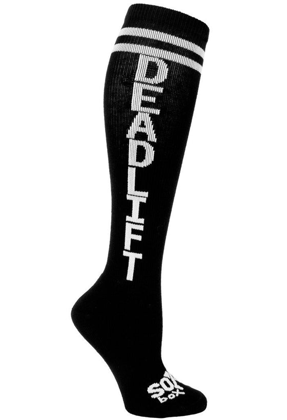 Deadlift Black Athletic Fun Knee High Socks - The Sox Box