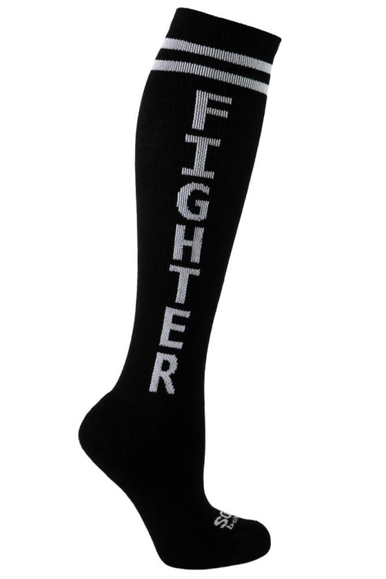 Fighter Black Athletic Knee High Socks- The Sox Box