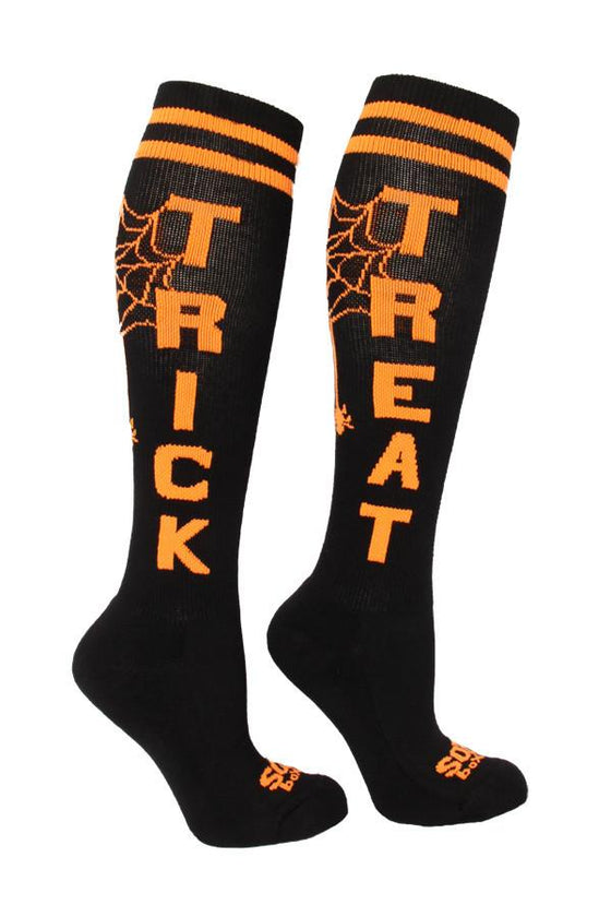 Trick & Treat Black Athletic Knee High Socks- The Sox Box