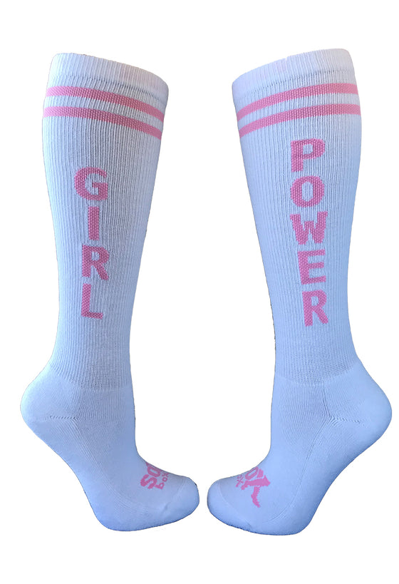 Girl Power Women's White Athletic Knee High Socks- The Sox Box