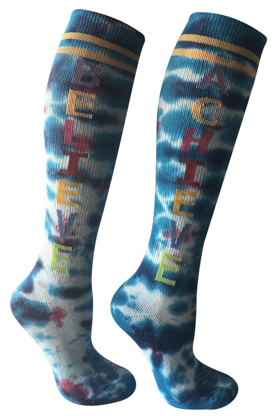 Believe Achieve Tie Dye Athletic Knee High Socks- The Sox Box
