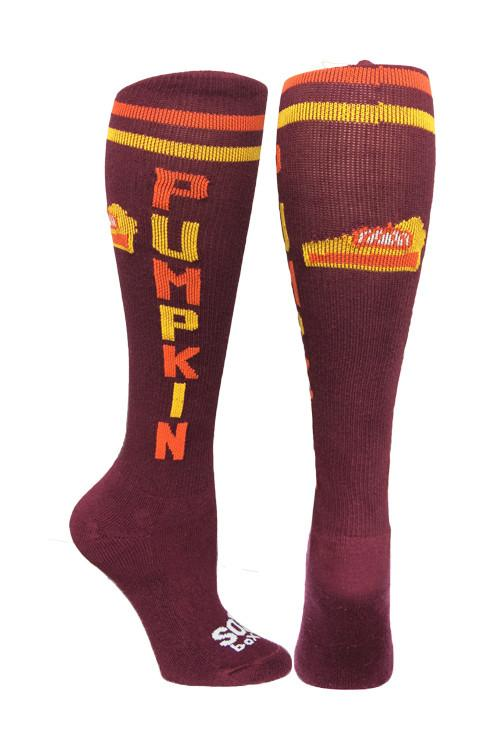 Pumpkin Maroon Athletic Knee High Socks- The Sox Box