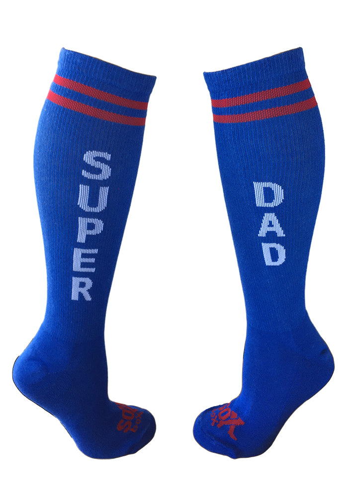 Super Dad Men's Blue Athletic Knee High Socks- The Sox Box