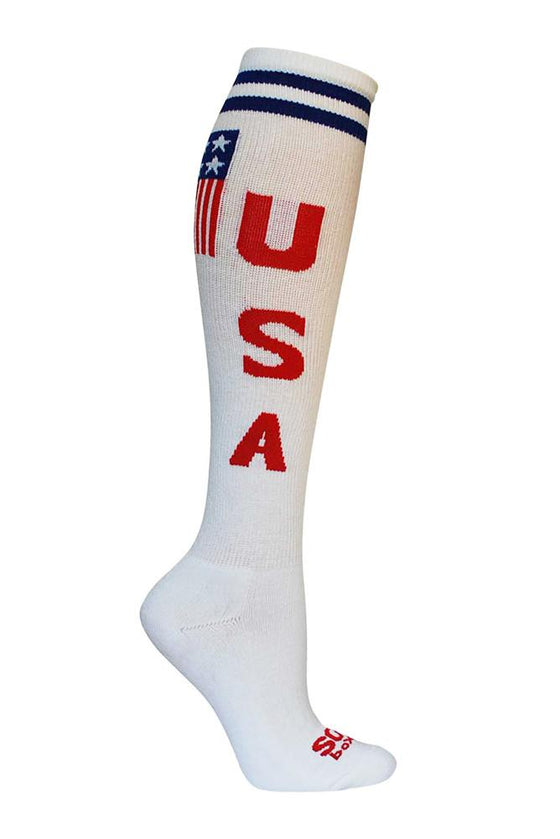 USA White Athletic Knee High Socks- The Sox Box
