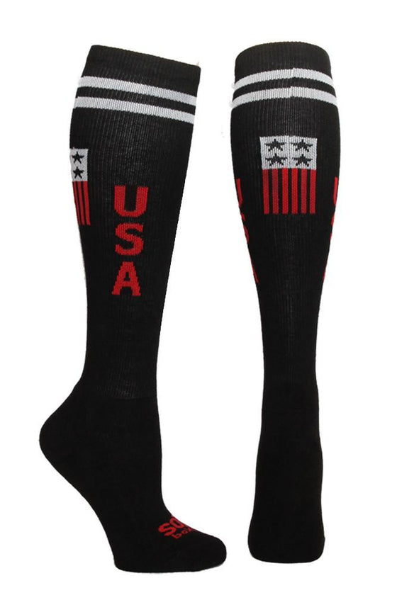 USA Black Athletic Knee High Socks- The Sox Box