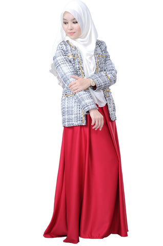 Elegant  Corporate Looks El Chanelite Exclusive White Blazer For Women Syariah Compliant ELLE ZADA