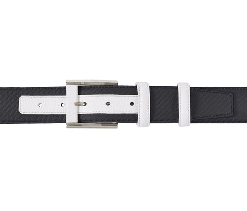 White Leather&Carbon Fiber Belt