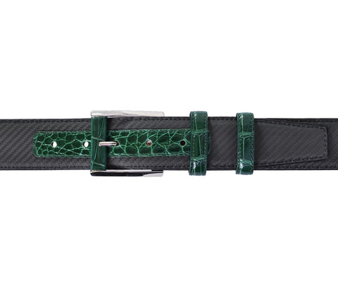 Green Crocodile&Carbon Fiber Belt