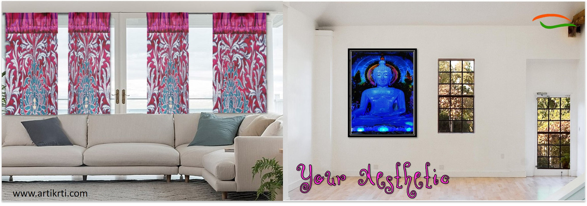buddha-poster-yoga-decor-indian-curtains-drapes-decor-idea-artikrti