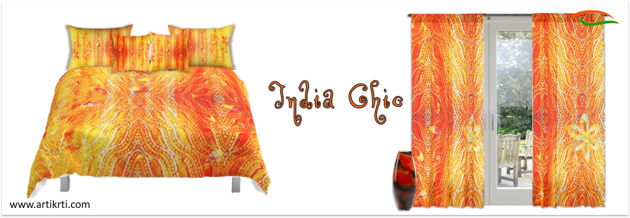 indian-curtains-orange-yellow-sunrise-sequin-design-comforter-pillow-covers-cushion-covers-artikrti