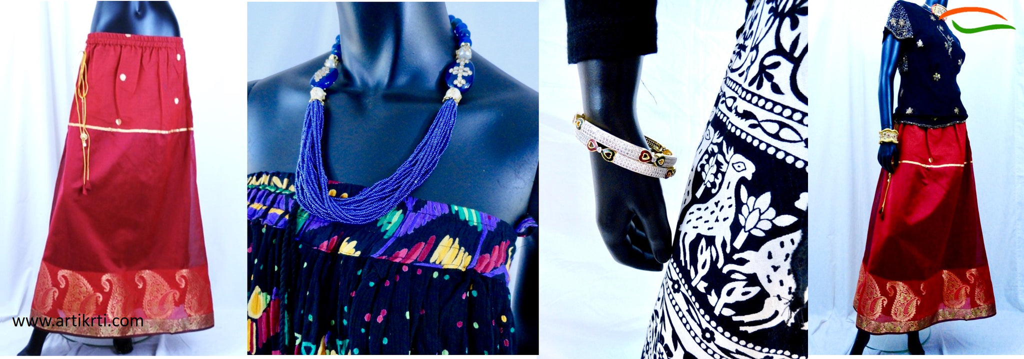 womenswear-skirts-indian-jewelry-bracelts-earrings-necklaces-artikrti