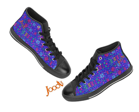 "Girls casual shoes- black sneakers. Cool keds with ethnic Indian designs. White, Black blue, red. ""Blue rangoli"". Jooots from Artikrti"