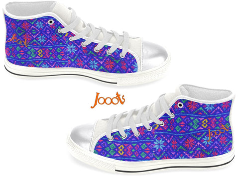 "Unique high tops sneakers for women. Cool keds with ethnic Indian designs. White, Black blue, red. ""Blue rangoli"". Jooots from Artikrti"