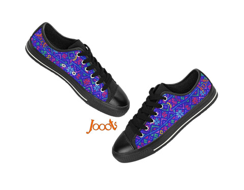 Street and party sneakers for girls. Ethnic keds. Indian design low tops canvas shoes. Blue Rangoli-Black . Jooots from Artikrti