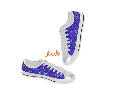 Street and party sneakers for girls. Ethnic keds. Indian design low tops canvas shoes. Blue Rangoli-White . Jooots from Artikrti