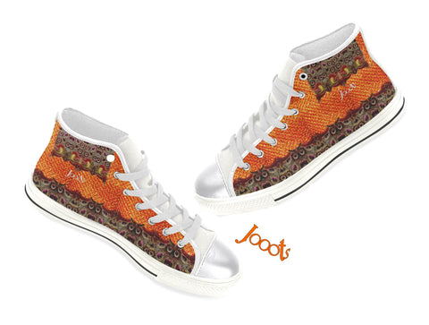 High tops sneakers for girls. Yellow orange keds. Indian design. Peacock Eye . Jooots from Artikrti