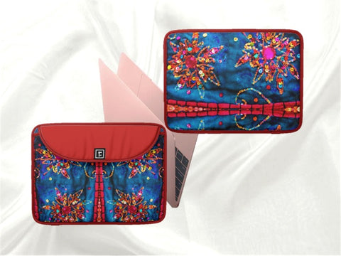 Laptop or MacBook bag or case red blue stone sequin design artikrti1