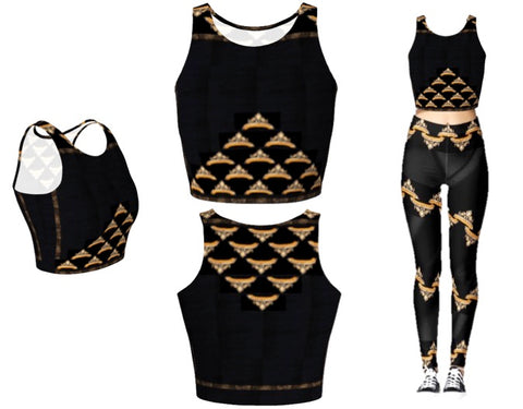 Yoga or workout crop top for women. Black and gold bead & sequin Indian design. Artikrti