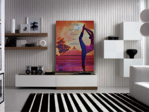 "Buddha art for the home. Home decor painting. Yoga Wall Hanging/ Wall Art. Yoga room Painting Poster. ""Deepo Bhava"". Indian art. 16 x 21.3 in.  Artikrti"