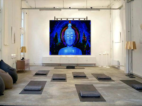 "Buddha Wall Hanging or fabric art tapestry. Yoga art or yoga decor. ""Tranquility"". Wall art from Artikrti."