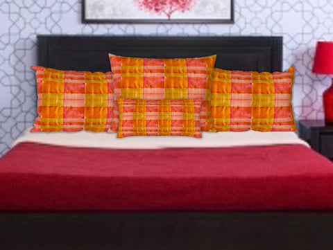 "Pink & Yellow pillow case. ""Chettinad"". Cushion cover. Indian bedroom pillow cover. Artikrti."