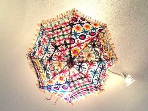 Ceiling lampshade from India. Fabric umbrella lamp shade. Colorful Ethnic embroidered decor ornament. Ethnic decor idea. From Artikrti
