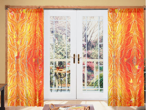 Indian decor- curtains or drapes. Housewarming gift. Ethnic Indian. Orange and yellow curtains. From Artikrti.