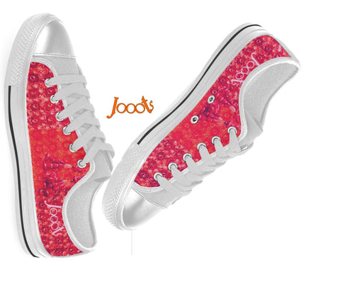 Cool new kicks for girls. Low tops, sneakers.  Peach Pink Red keds. Indian design  canvas shoes. Lace 'n Sequins . Jooots from Artikrti