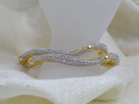 "Unique white stone wavy bracelet bangles. Handmade wedding bangle bracelets- ""Shimmering Shoreline"". Indian Gold covered brass wrist wear. From Artikrti."