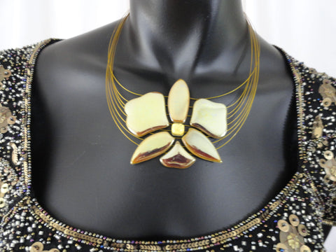 Statement necklace and ear rings- gold glazed ceramic Indian Jewellery. Handmade Ethnic necklace, ear rings.From Artikrti.