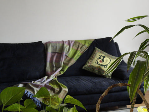 Silk sofa cushion cover from India. Peacock embroidered throw pillow. Green Gold ethnic cushion cover, Decorative sofa cushion cover. Artikrti.