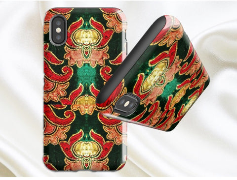 Classy iPhone X case. Green, red and beige. Cool, Indian design. Protective case- iPhone 8, 7, 6 options. From Artkrti.