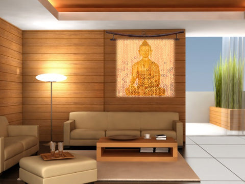 "Buddha Wall Hanging or fabric art tapestry. Yoga art or yoga decor. ""Sunrise Buddha"". Wall art from Artikrti."
